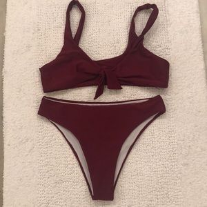 Other - Burgundy 2 piece swim suit ((cheeky) bottoms